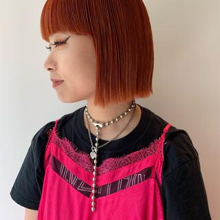 モード ボブ 切りっぱなしボブ オレンジカラー ヘアスタイルや髪型の写真・画像