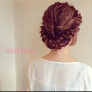 セミロング ナチュラル 簡単ヘアアレンジ ヘアアレンジ ヘアスタイルや髪型の写真・画像