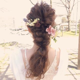 セミロング フェミニン 結婚式 ヘアアレンジ ヘアスタイルや髪型の写真・画像