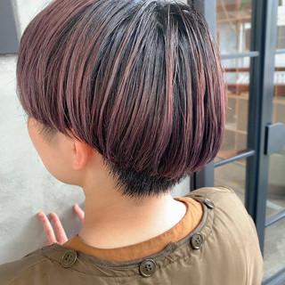 ショート パープルアッシュ ストリート マッシュショート ヘアスタイルや髪型の写真・画像