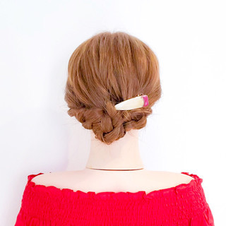 簡単ヘアアレンジ ヘアアレンジ ロング 三つ編み ヘアスタイルや髪型の写真・画像