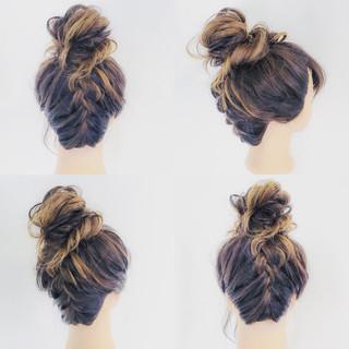 ルーズ 編み込み セミロング フェミニン ヘアスタイルや髪型の写真・画像