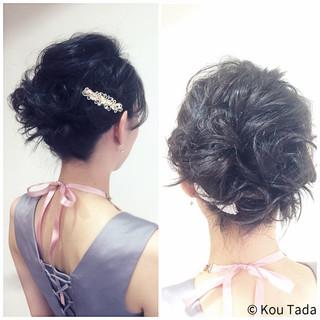 アップスタイル フェミニン ショート 結婚式 ヘアスタイルや髪型の写真・画像 ヘアスタイルや髪型の写真・画像