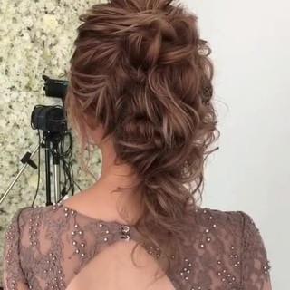 大人かわいい ヘアアレンジ 結婚式髪型 フェミニン ヘアスタイルや髪型の写真・画像