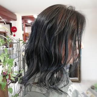 ナチュラル バレイヤージュ セミロング #インナーカラー ヘアスタイルや髪型の写真・画像