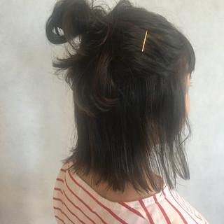 アウトドア 簡単ヘアアレンジ 大人かわいい ボブ ヘアスタイルや髪型の写真・画像
