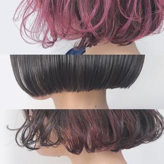 ミルクティーアッシュ ナチュラル ボブ ピンクラベンダー ヘアスタイルや髪型の写真・画像