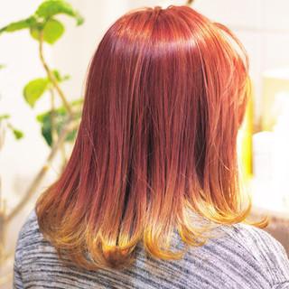 オレンジ イエロー ハイトーン ピンク ヘアスタイルや髪型の写真・画像