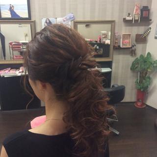 ヘアアレンジ エレガント 編み込み セミロング ヘアスタイルや髪型の写真・画像