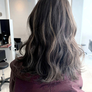 エレガント 外国人風カラー セミロング コントラストハイライト ヘアスタイルや髪型の写真・画像