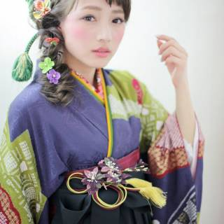 フィッシュボーン 袴 コンサバ ヘアアレンジ ヘアスタイルや髪型の写真・画像