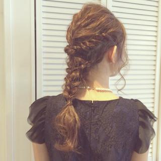 ヘアアレンジ ルーズ 大人かわいい 編み込み ヘアスタイルや髪型の写真・画像