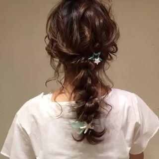 大人かわいい ロング 結婚式 編み込み ヘアスタイルや髪型の写真・画像