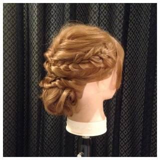 編み込み ゆるふわ フェミニン アップスタイル ヘアスタイルや髪型の写真・画像