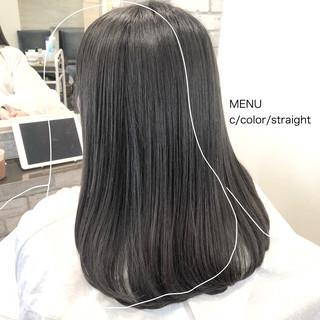 グレージュ 縮毛矯正 ストレート 髪質改善 ヘアスタイルや髪型の写真・画像