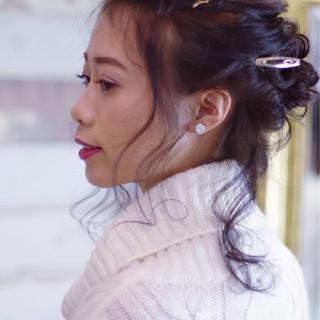 デート フェミニン ミディアム ギブソンタック ヘアスタイルや髪型の写真・画像