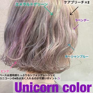 ブリーチカラー ユニコーン ナチュラル デート ヘアスタイルや髪型の写真・画像