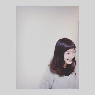 セミロング かわいい オン眉 パーマ ヘアスタイルや髪型の写真・画像