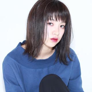 黒髪 パープル ミディアム 色気 ヘアスタイルや髪型の写真・画像 ヘアスタイルや髪型の写真・画像