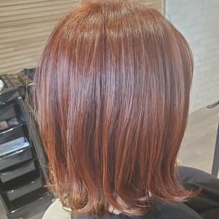 ストリート 切りっぱなしボブ 暖色 オレンジ ヘアスタイルや髪型の写真・画像