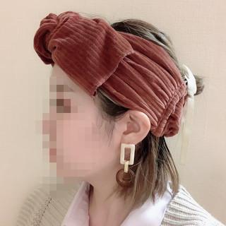 お団子 ターバンアレンジ ミニボブ お団子ヘア ヘアスタイルや髪型の写真・画像