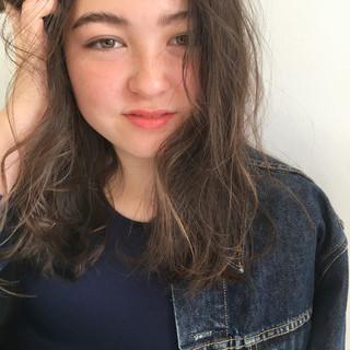 パーマ 透明感 セミロング ロブ ヘアスタイルや髪型の写真・画像