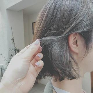 デート 大人かわいい アウトドア ボブ ヘアスタイルや髪型の写真・画像