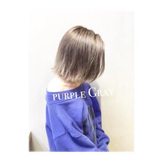 アッシュ パープル エフォートレス ストリート ヘアスタイルや髪型の写真・画像