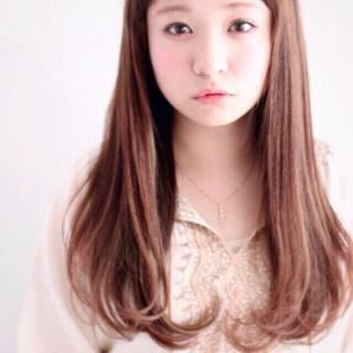 ロング 前髪あり ストレート ナチュラル ヘアスタイルや髪型の写真・画像