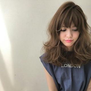 くせ毛風 パーマ ピュア セミロング ヘアスタイルや髪型の写真・画像