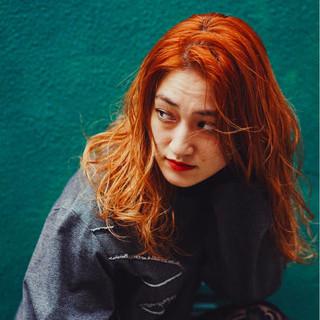 リラックス オレンジ 大人女子 オレンジベージュ ヘアスタイルや髪型の写真・画像