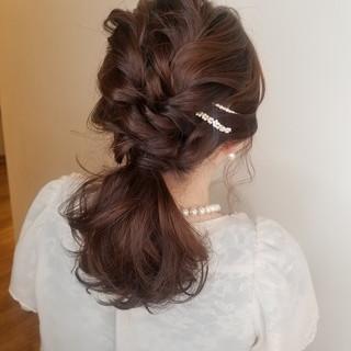 結婚式ヘアアレンジ ヘアアレンジ ガーリー 結婚式 ヘアスタイルや髪型の写真・画像