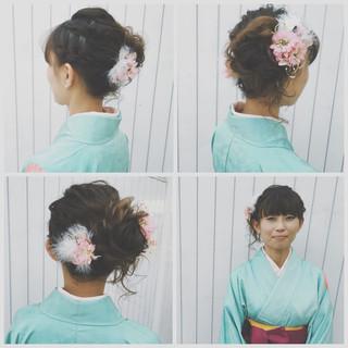 フェミニン ハイライト ロング ヘアアレンジ ヘアスタイルや髪型の写真・画像