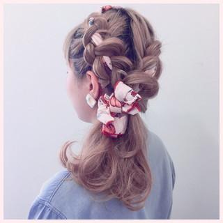 ハーフアップ ヘアアクセ 編み込み ショート ヘアスタイルや髪型の写真・画像