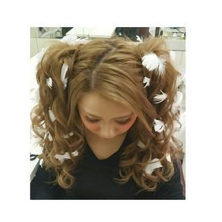 ヘアアレンジ ゆるふわ ツインテール ロング ヘアスタイルや髪型の写真・画像