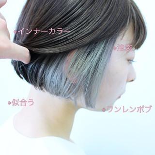 ワンレングス ボブ ナチュラル インナーカラーグレージュ ヘアスタイルや髪型の写真・画像