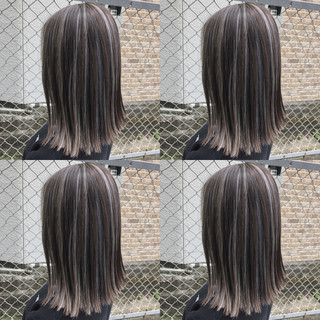 グラデーションカラー ボブ ハイライト 切りっぱなしボブ ヘアスタイルや髪型の写真・画像