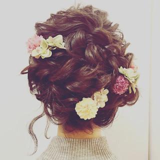 セミロング ゆるふわ 夏 結婚式 ヘアスタイルや髪型の写真・画像