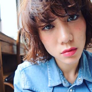 前髪あり ストリート パーマ アッシュ ヘアスタイルや髪型の写真・画像