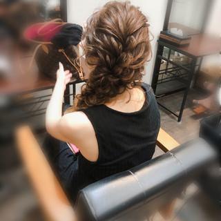結婚式 セミロング ヘアセット 編み込みヘア ヘアスタイルや髪型の写真・画像