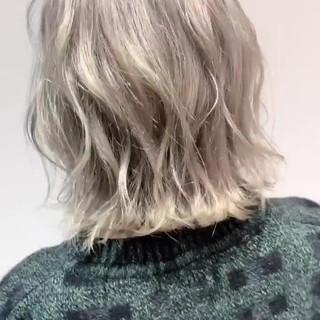 外国人風 ナチュラル ハイトーン ショートボブ ヘアスタイルや髪型の写真・画像