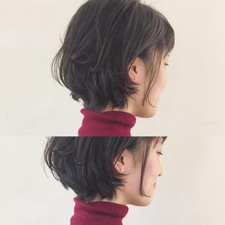 ボブ ショート ニュアンス 黒髪 ヘアスタイルや髪型の写真・画像