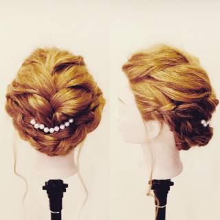 結婚式 和装 編み込み ガーリー ヘアスタイルや髪型の写真・画像