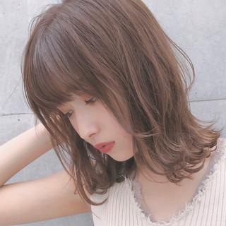 切りっぱなしボブ モテ髪 ナチュラル ミディアム ヘアスタイルや髪型の写真・画像