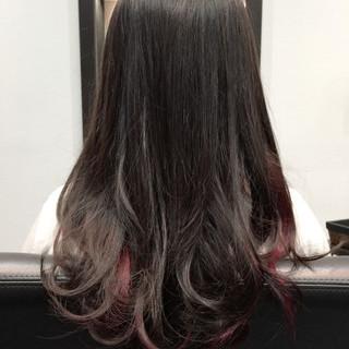 モード インナーカラー セミロング 暗髪 ヘアスタイルや髪型の写真・画像 ヘアスタイルや髪型の写真・画像