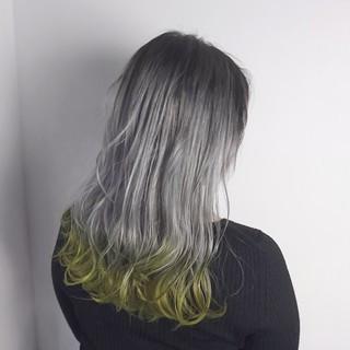 モード 外国人風 ロング グレー ヘアスタイルや髪型の写真・画像
