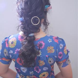 ヘアアレンジ 二次会 結婚式 編み込み ヘアスタイルや髪型の写真・画像