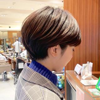 ショートボブ ナチュラル マッシュ ベリーショート ヘアスタイルや髪型の写真・画像
