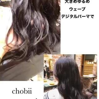 セミロング パーマ ゆるふわパーマ デジタルパーマ ヘアスタイルや髪型の写真・画像
