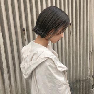 ボブ 切りっぱなしボブ ガーリー 簡単ヘアアレンジ ヘアスタイルや髪型の写真・画像